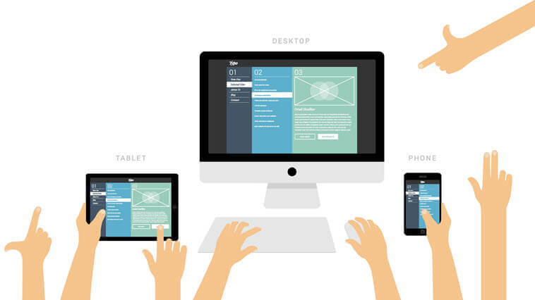 Three different size screens show how iOS9 developments can lead to new website designs.