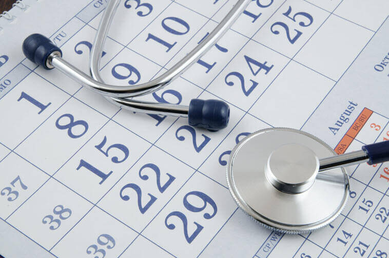 Millennials and Healthcare: Stethoscope and calendar