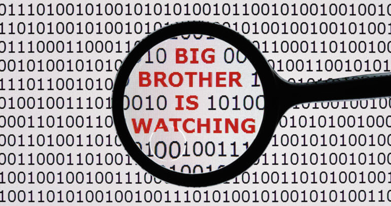 "Magnifying glass on the words ""Big Brother is watching"""