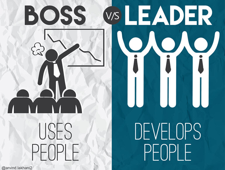 Poster comparing a boss and a leader