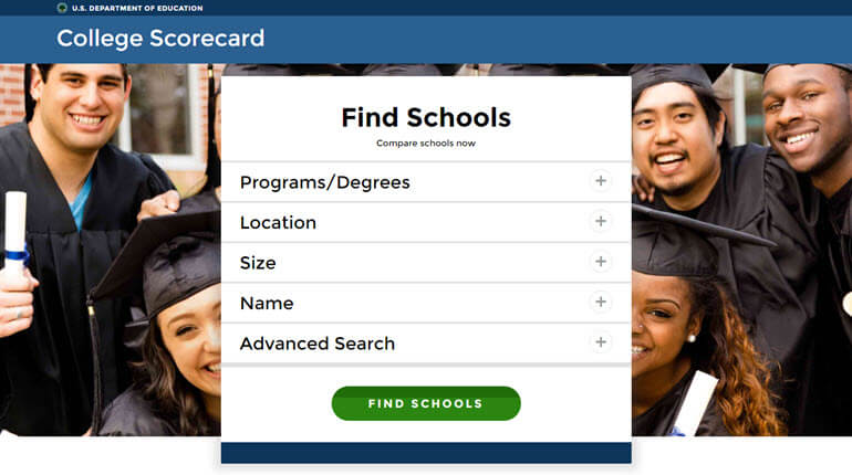 Home page of College Scorecard website