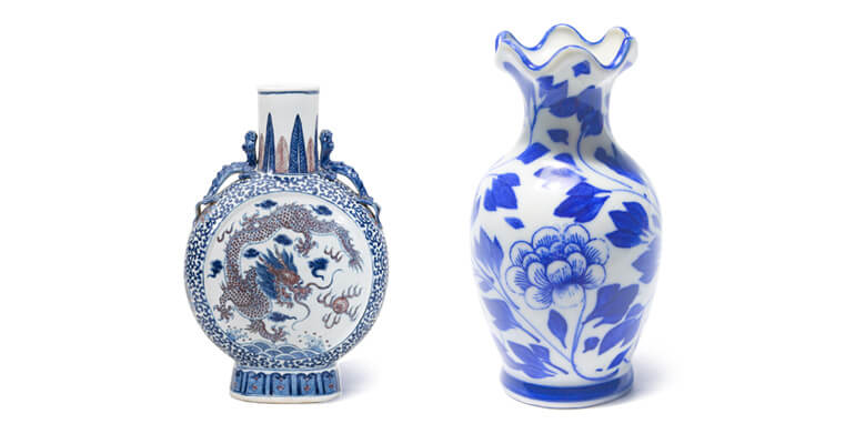 Two white-and-blue vases