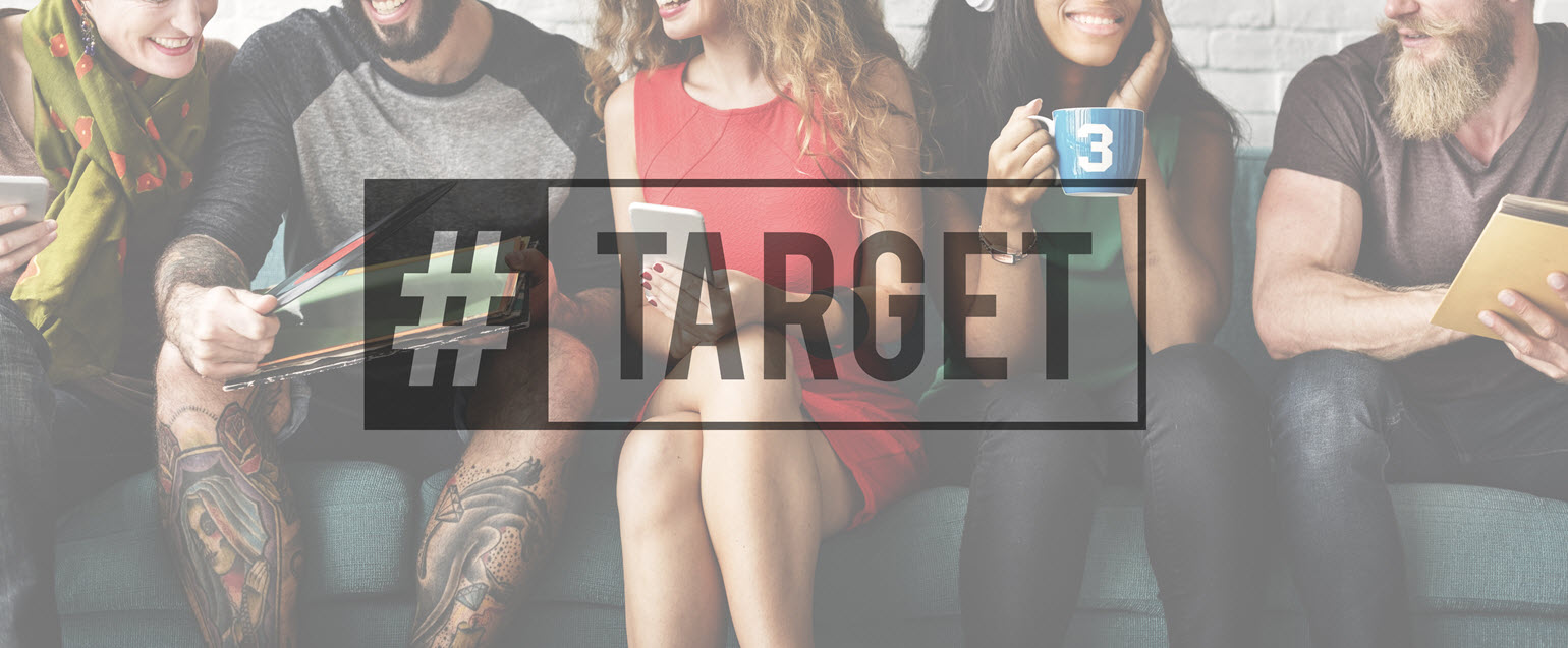 """Group of Millennials with """"#Target"""" over them as illustration"""