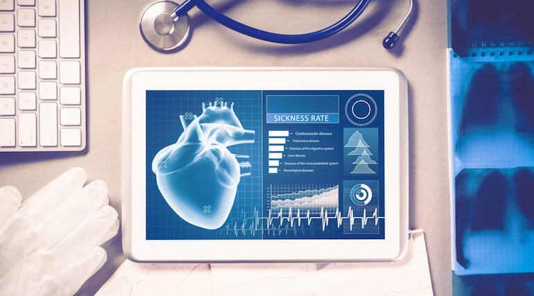 Photo illustration of tablet showing vital signs