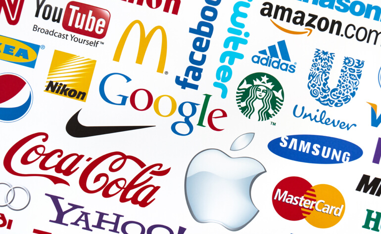 Various international brand logos