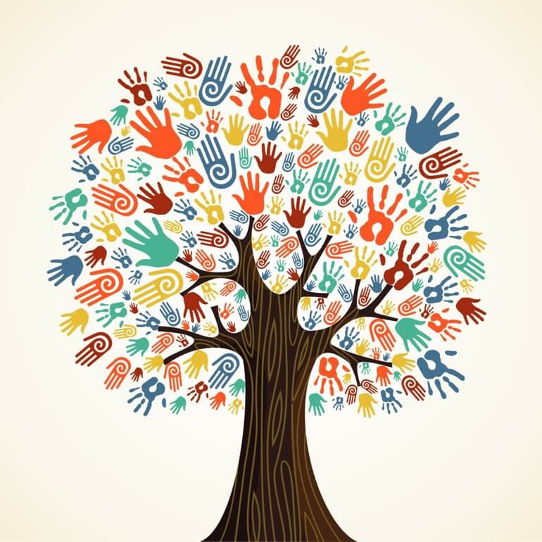 Illustration of a tree made up of hands