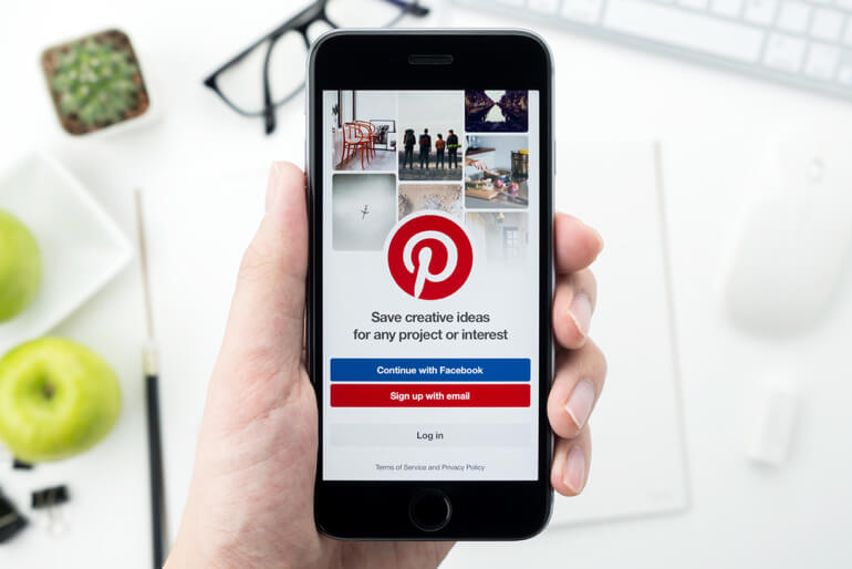 Phone showing Pinterest login page