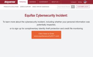 Equifax Cybersecurity Incident Button
