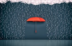 Illustration of a Red Umbrella in the Rain