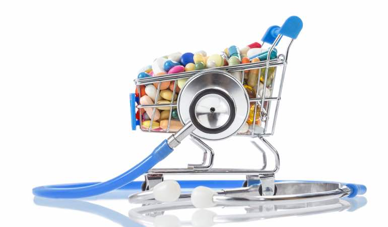Illustration of a shopping cart full of medication and a stethoscope