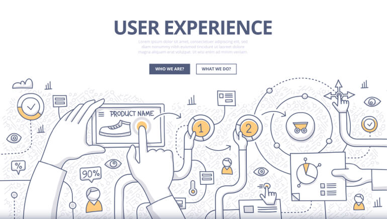Illustration of user experience on a website