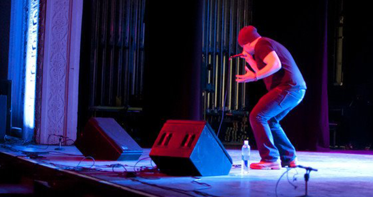 Aaron on stage beatboxing