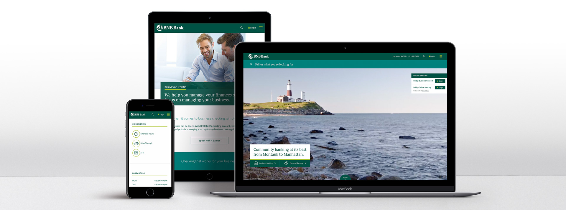 BNB Bank Website shown on responsive devices