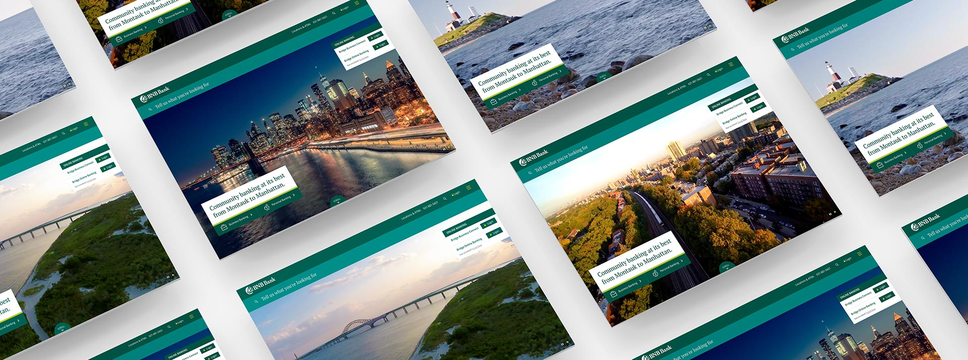 BNB Bank homepage screens showing location for Manhattan, Suffolk County, Nassau County and Queens