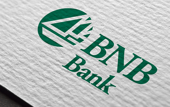 Close Up of BNB Bank Logo on Paper