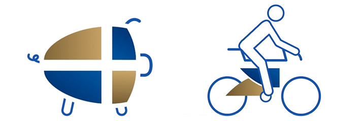 Showing custom icons of the piggy bank and bicyclist in which pieces of the OFFCU logo is being used