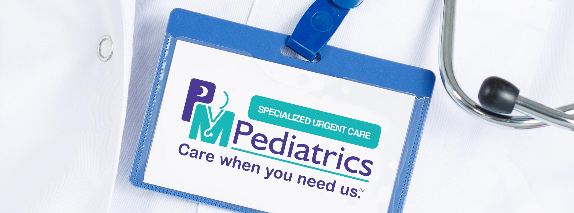 PM Pediatrics logo in medical badge