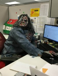 Juan dressed as a scary zombie
