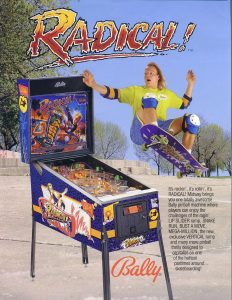 Pinball machine ad with skateboarder