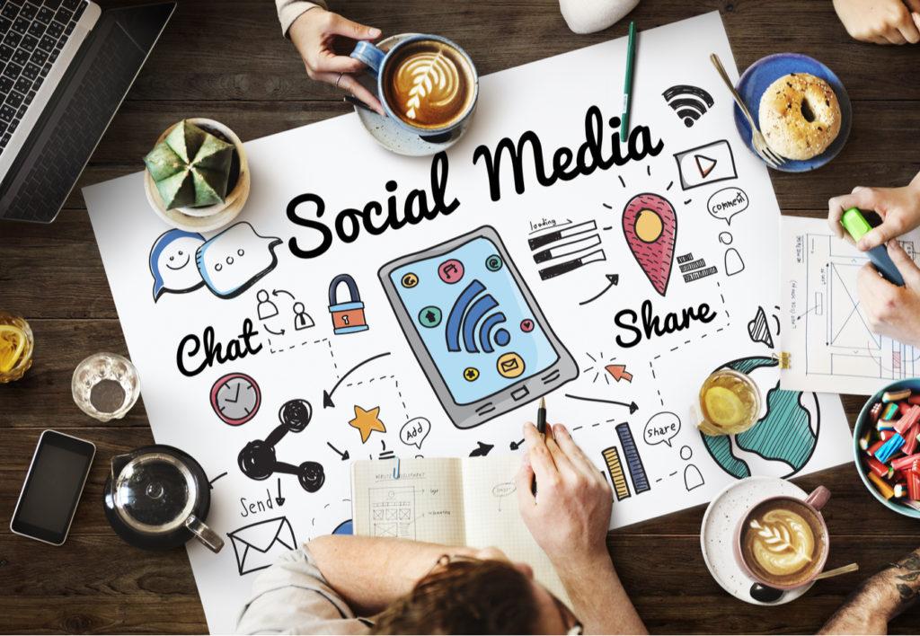 Social Media Brainstorm at a Table
