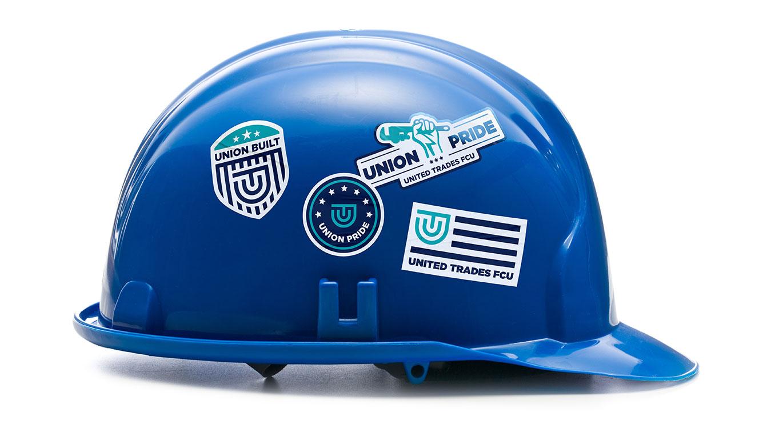 UTFCU Branded Stickers on Hard Hat designed by Austin Williams a New York Digital Marketing Agency