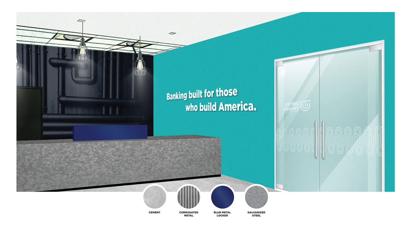 United Trades Federal Credit Union Branch Interior Design Mock Up by Austin Williams a New York Digital Marketing Agency