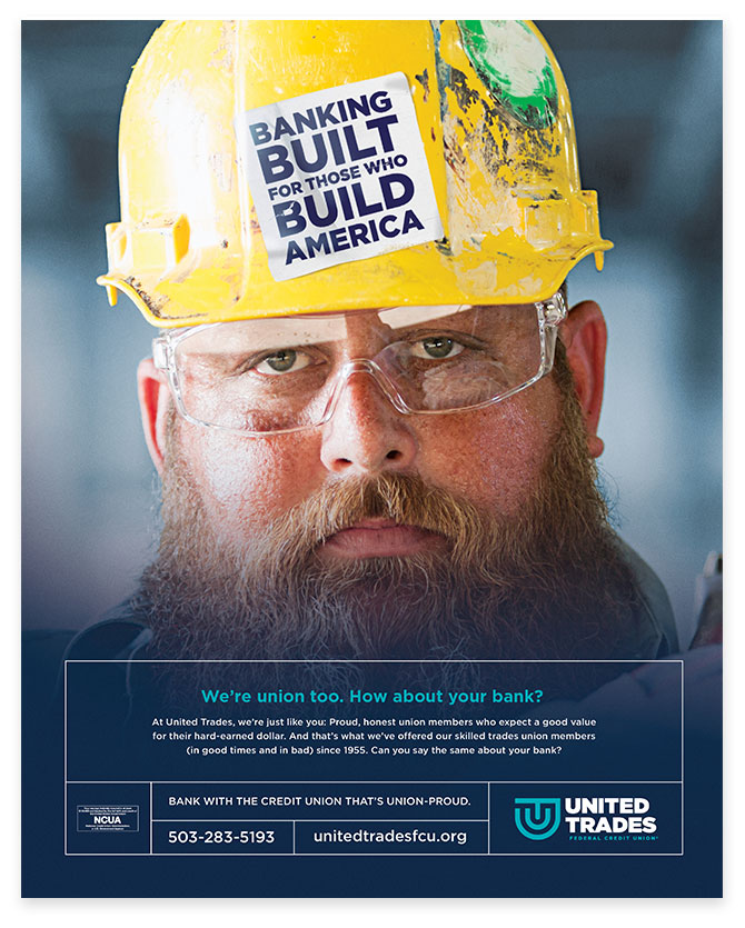 United Trades Federal Credit Union Blue Collar Worker Advertisement by Austin Williams a New York Digital Marketing Agency