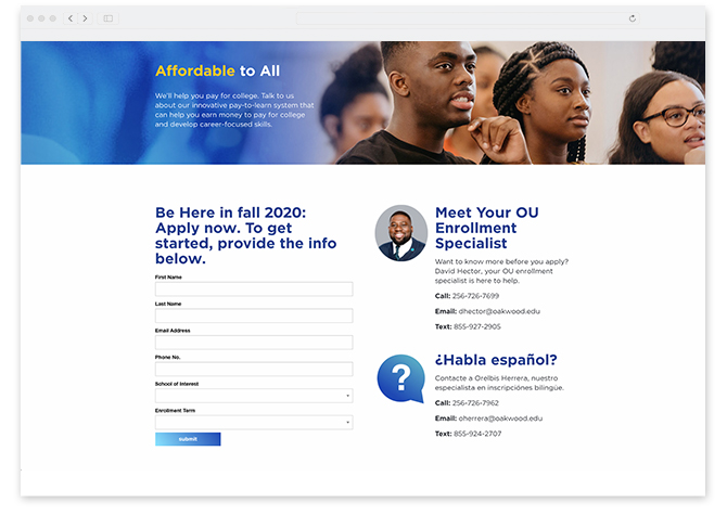 New York Digital Marketing Agency Austin Williams' work for Oakwood University a Seven Day Adventist University